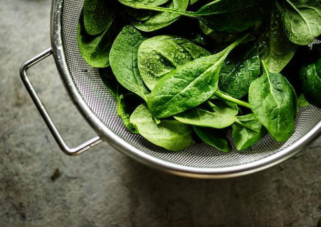 Closeup, de, fresco, orgânica, espinafre, folhas