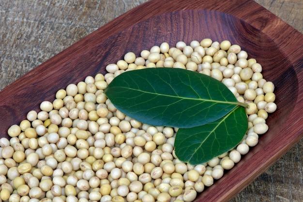 Closeup de grãos de soja com folhas de louro
