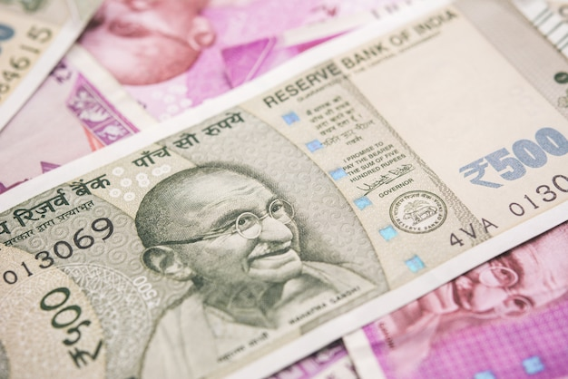 Closeup, de, indianas, rupee, nota