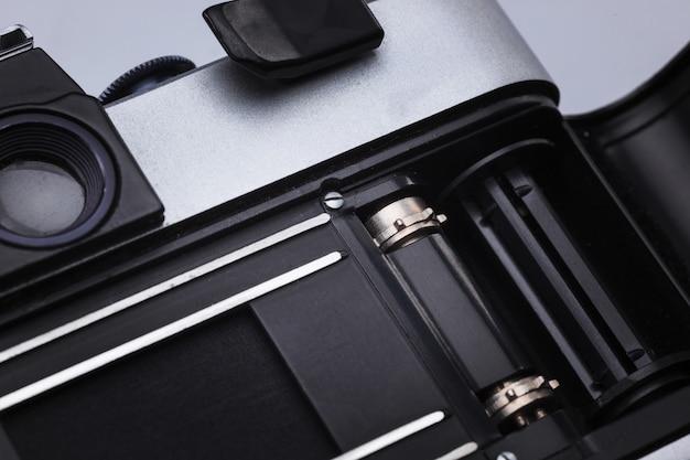 Closeup de lente de câmera de filme retrô
