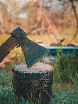 Closeup de machado na casa de campo