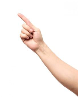 Closeup de mão masculino apontando isolado