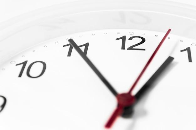 Closeup de mãos na face do relógio.
