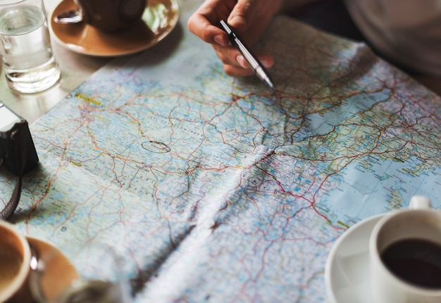Closeup, de, mapa estrada, planejando, viagem, viagem