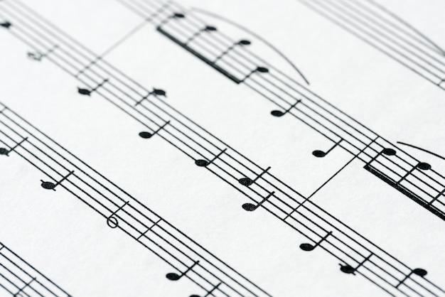 Closeup, de, musical, folha