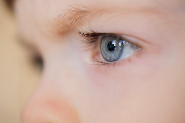Closeup de olhos de uma criança de olhos azuis.