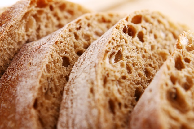 Closeup de pão fatiado