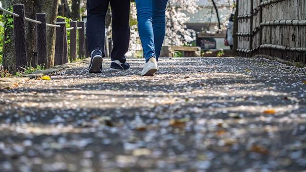 Closeup de pernas e pés de casal andando no jardim com pétalas caídas
