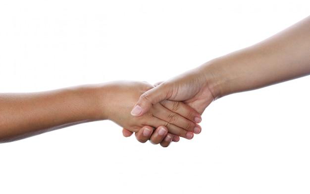 Closeup, de, pessoas, apertar mão