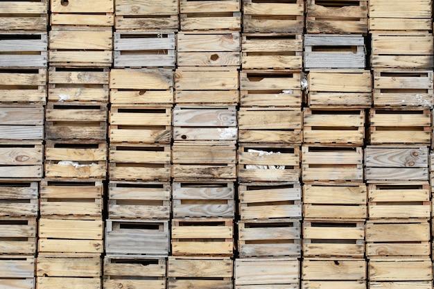 Closeup de pilha de caixa de madeira