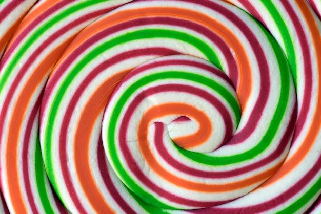 Closeup de pirulito colorido com espiral