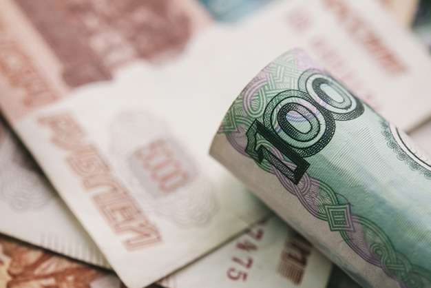 Closeup, de, rublo russo, dinheiro, nota