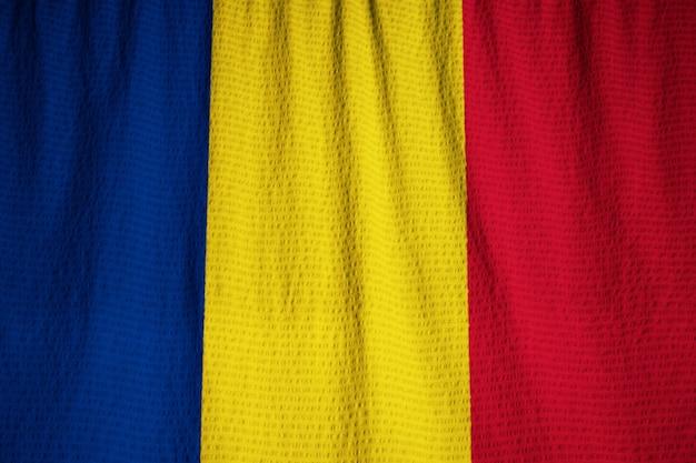Closeup, de, ruffled, r omaniaflag, bandeira romênia, soprando, em, vento