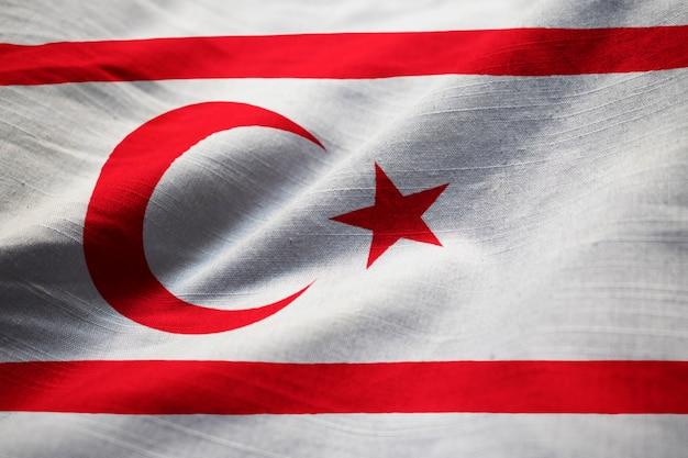 Closeup, de, ruffled, turco, república, de, norte, chipre, bandeira