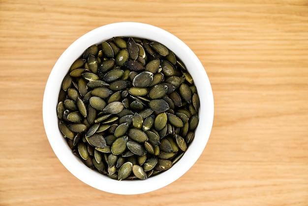 Closeup de sementes de abóbora