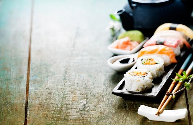Closeup de sushi fresco