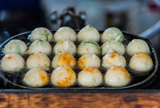 Closeup, de, takoyaki, cozinha japonesa