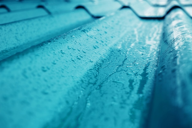 Closeup de textura de telhado azul.
