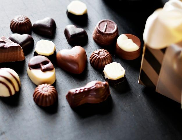 Closeup, de, variedade, chocolates, cobrança
