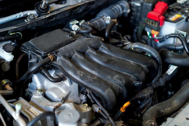 Closeup, detalhe, de, motor carro