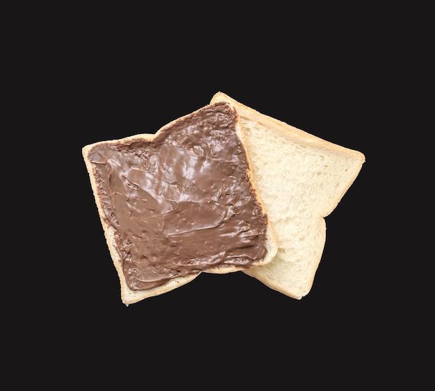 Closeup dois fatia pão no café da manhã com chocolate