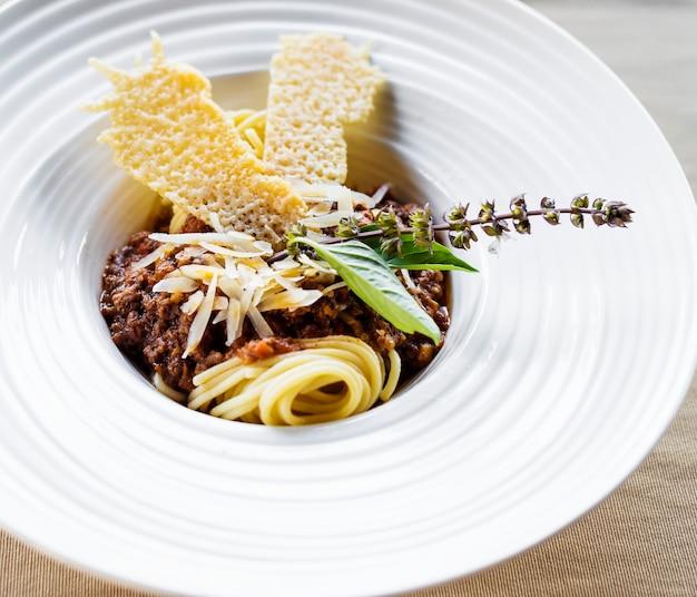 Closeup, espaguete, bolonhês, receita