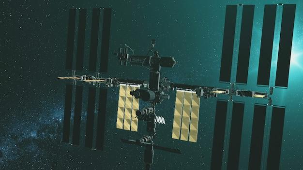 Closeup estação espacial internacional com painéis solares amarelos voam gravitacionais na luz verde da estrela