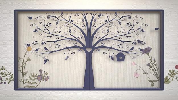 Closeup flores vintage e árvore, plano de fundo do casamento. ilustração 3d elegante e luxuosa em estilo pastel