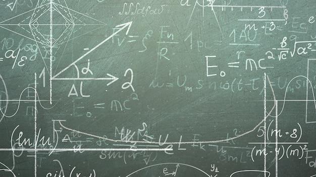 Closeup fórmula matemática e elementos no quadro-negro, plano de fundo da escola. ilustração 3d elegante e luxuosa do tema educação