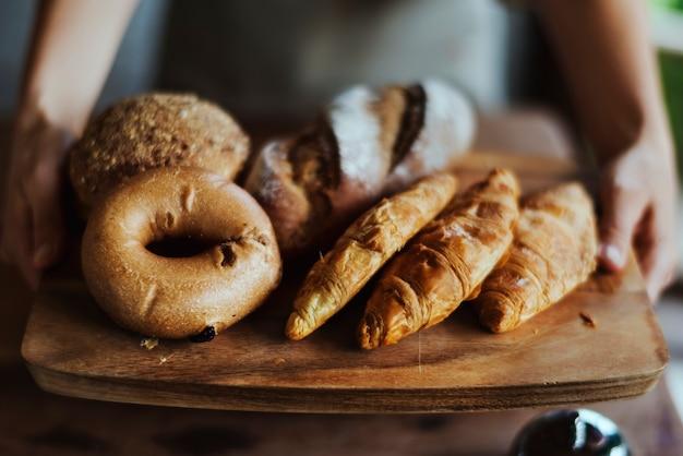 Closeup, fresco, assado, pão, padaria, loja