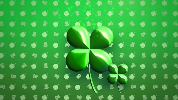 Closeup grandes trevos verdes e padrão irlandês em fundo brilhante do dia de saint patrick. estilo de ilustração 3d luxuoso e elegante para o tema do feriado