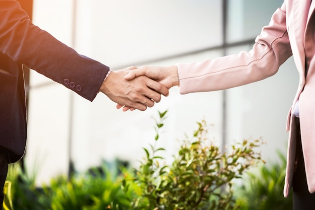 Closeup handshake de reunião amigável entre mulher de negócios e empresário com luz solar.