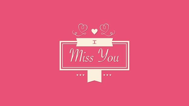Closeup i miss you texto e movimento corações vermelhos e quadro em plano de fundo dia dos namorados. ilustração 3d de luxo e elegante estilo dinâmico para férias