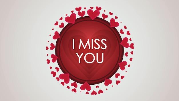 Closeup i miss you texto e movimento pequenos corações vermelhos em plano de fundo dia dos namorados. ilustração 3d de luxo e elegante estilo dinâmico para férias