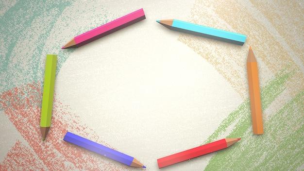 Closeup lápis colorido sobre papel, plano de fundo da escola. ilustração 3d elegante e luxuosa do tema educação