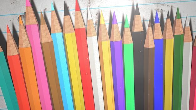 Closeup lápis colorido sobre papel, plano de fundo da escola. ilustração elegante e luxuosa do tema educação