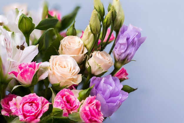 Closeup lindas flores em tons pastel