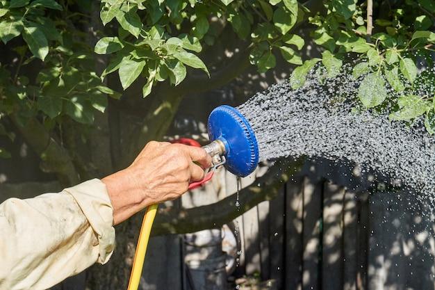 Closeup mão com irrigador regando plantas de jardim
