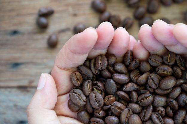 Closeup mãos segurando um punhado de grãos de café.