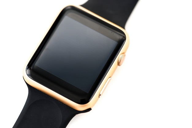 Closeup, mockup, smartwatch, isolado, whtie, fundo