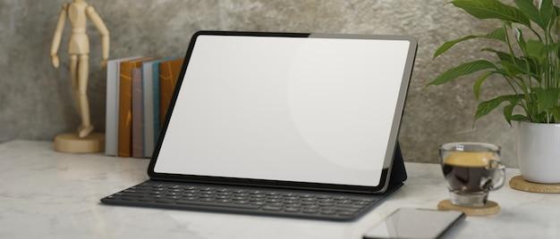 Closeup moderno loft local de trabalho digital tablet maquete de tela em branco renderização em 3d