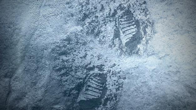 Closeup neve e pegadas da pessoa perdida em fundo cinematográfico de inverno. estilo de ilustração 3d elegante e luxuoso para filmes e cinematográficos
