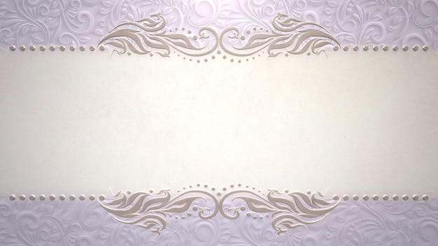 Closeup quadro vintage com flores, plano de fundo do casamento. ilustração 3d elegante e luxuosa em estilo pastel