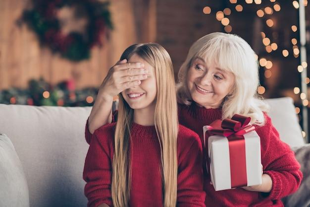 Closeup retrato da vovó alegre fechando os olhos dos netos dando um presente em uma casa decorada