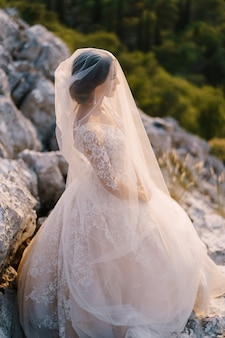 Closeup retrato de uma noiva coberta por um véu.