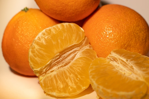 Closeup tangerinas frescas de laranja, tangerina makro