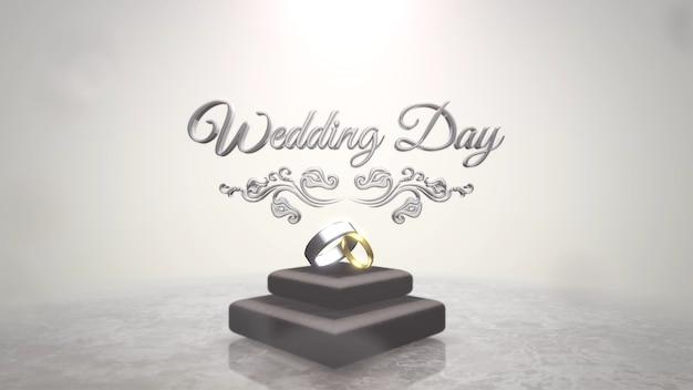 Closeup texto dia do casamento e anéis de amor, plano de fundo do casamento. estilo de ilustração 3d elegante e luxuoso em tons pastel