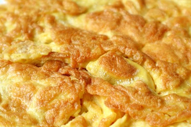 Closeup textura de deliciosa omelete de estilo tailandês