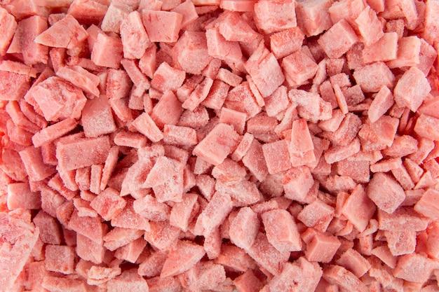 Closeup textura de salsichas picadas