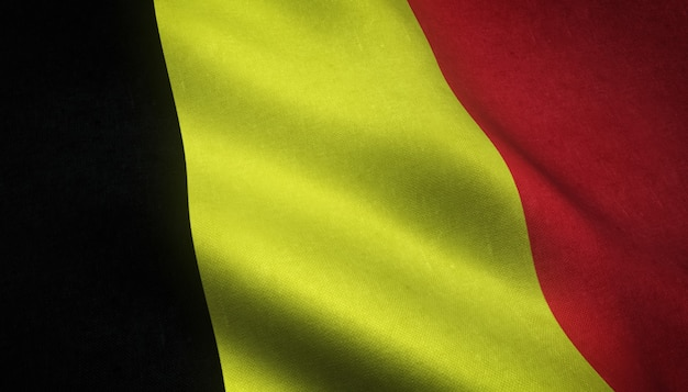 Closeup tiro da bandeira da bélgica com texturas interessantes